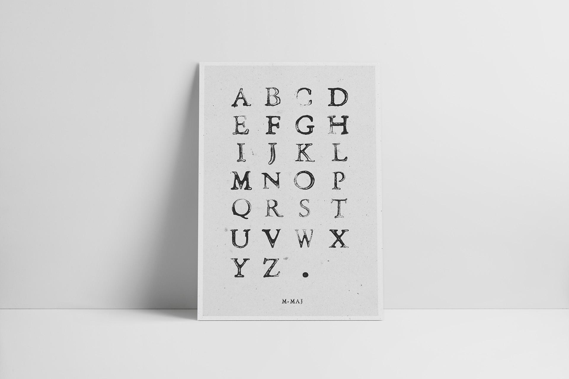 poster caractere d'imprimerie alphabet maison maj