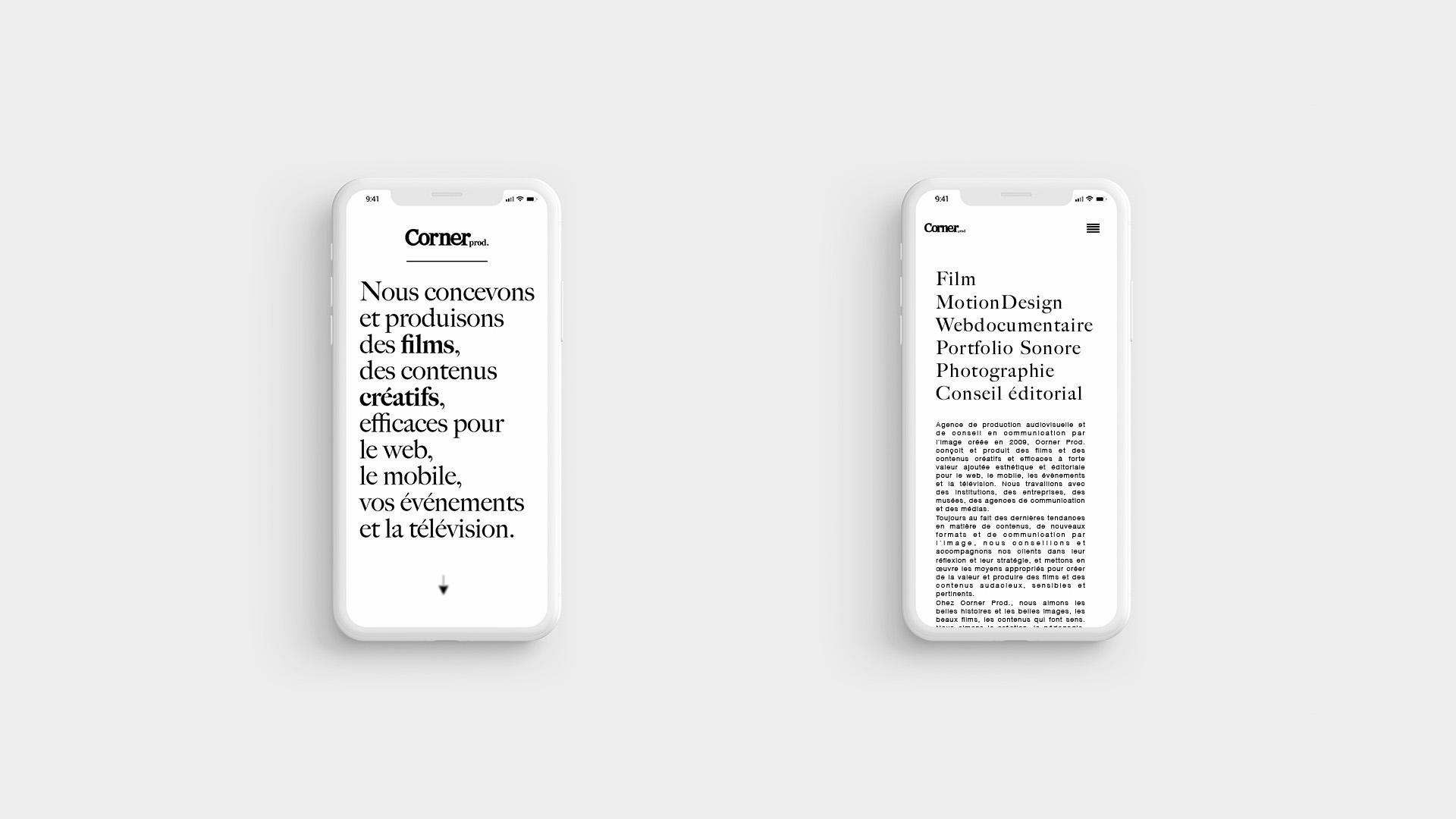 Corner Prod identité graphique direction artistique web design nantes