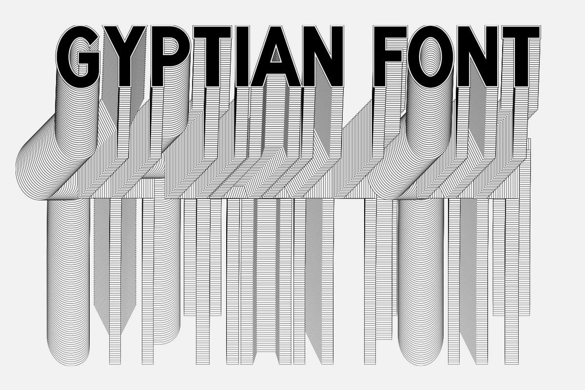 Typographie gyptian font creé par maison màj