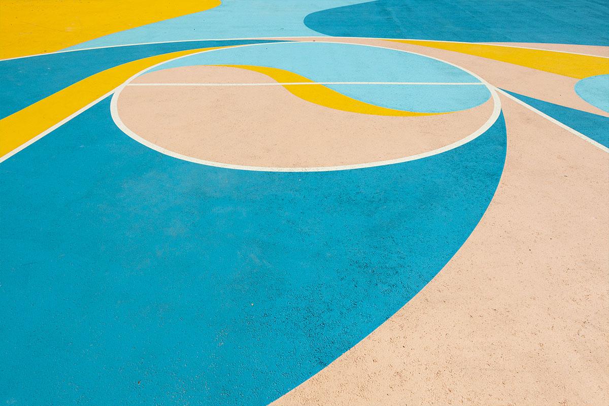 decoration au sol terrain de basket à nantes fresque urbaine decor urbain