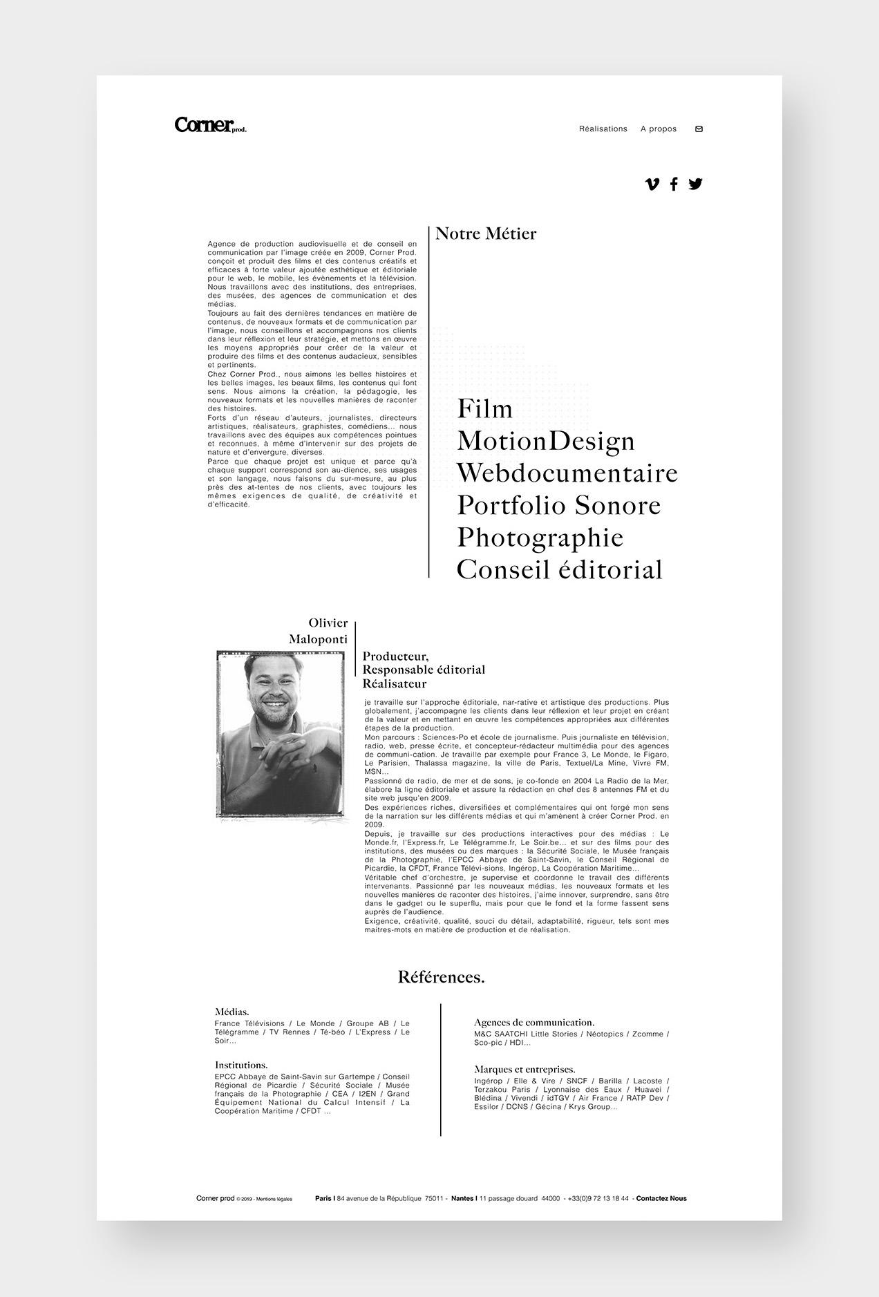 Web design pour la société de production vdéo corner prod à nantes et paris