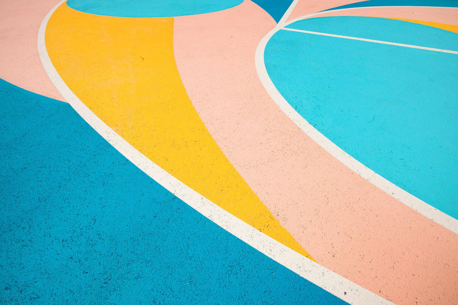 Décoration sur le sol d'un tearrain de basket design moderne à nantes maison màj